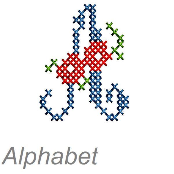 buchstaben sticken - Kreuzstich Monogramme mit farbigen Röschen